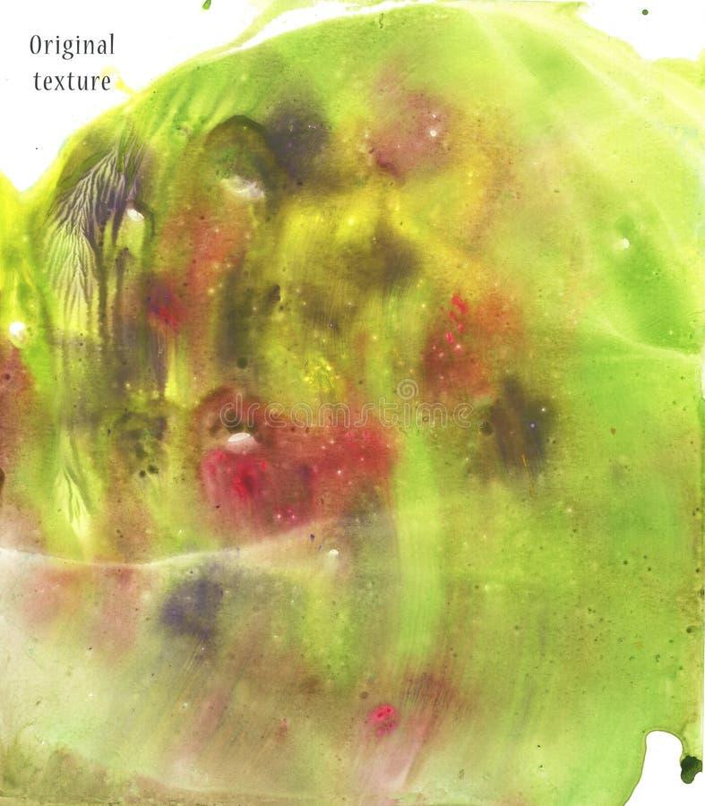 Tache verte d'aquarelle Illustration tirée par la main Fond de peinture Couleurs abstraites de gradient d'éclaboussure de texture photographie stock libre de droits