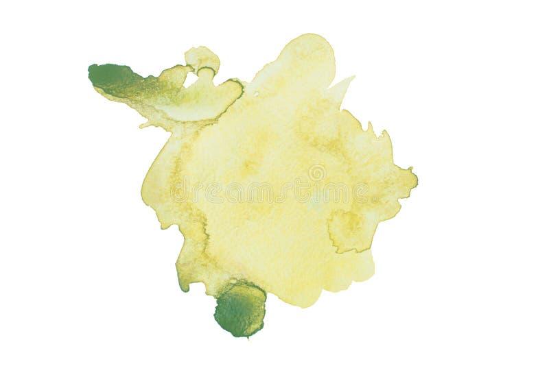 Tache verte pour aquarelle d'isolement sur le fond blanc illustration stock