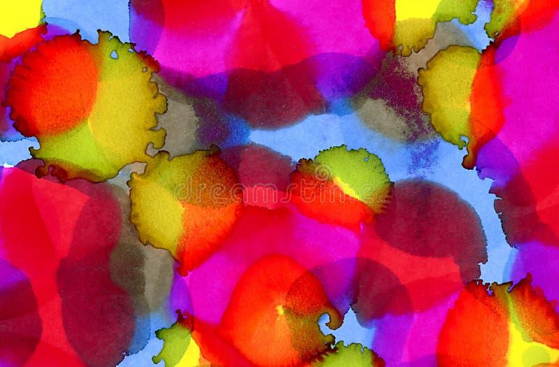 Taches abstraites de bleu de roses indien et de vert de chaux illustration libre de droits