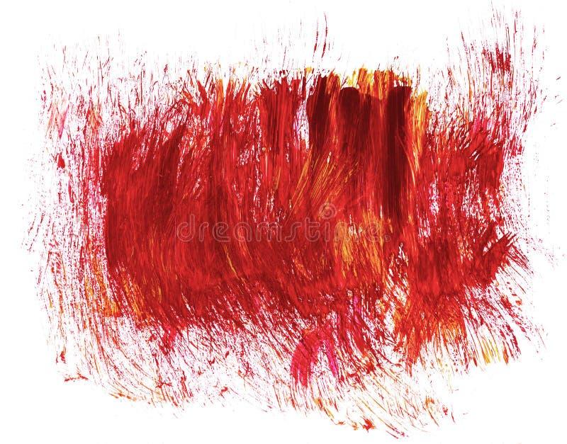 Taches abstraites rouges tirées par la main acryliques d'éclaboussure illustration stock