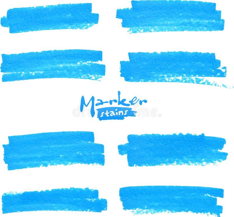 Taches bleues de marqueur de vecteur réglées illustration stock