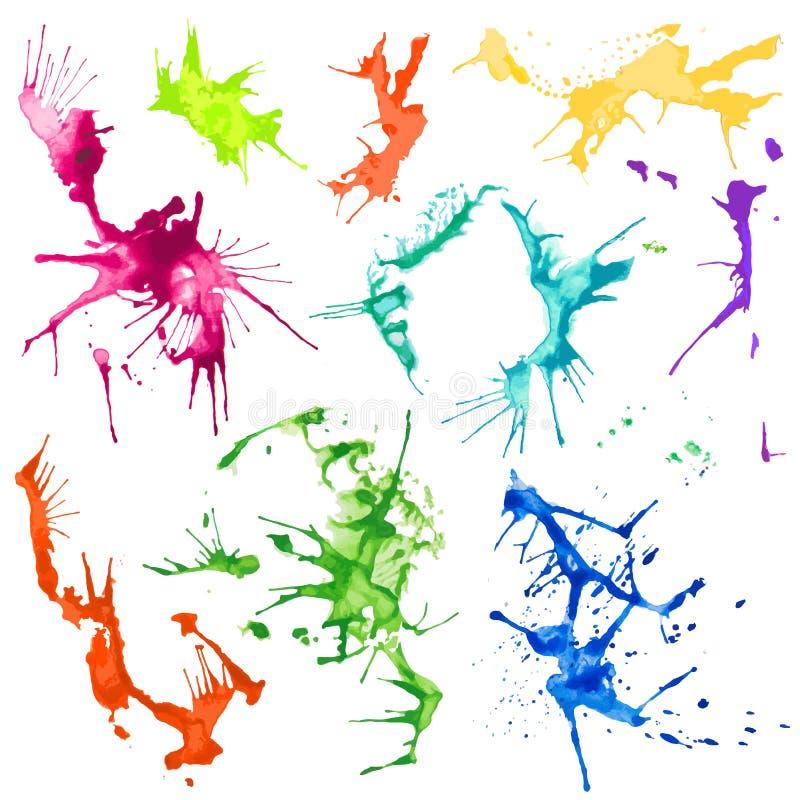 Taches d'éclaboussure de couleur d'eau de vecteur illustration de vecteur
