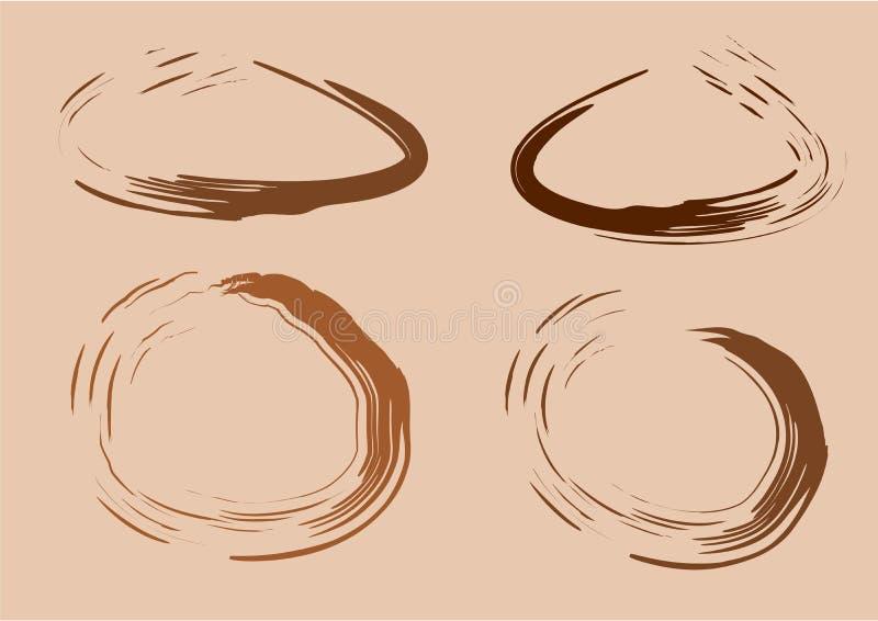Taches d'aquarelle de café ou de tache de café Vecteur illustration stock
