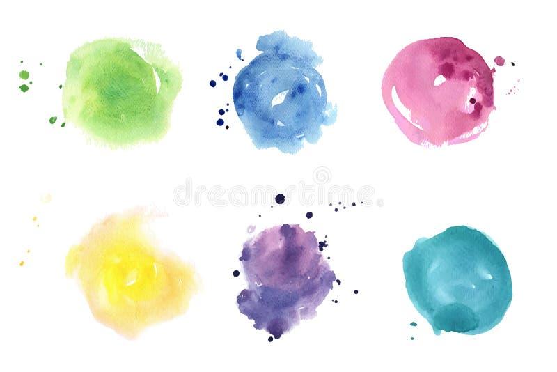 Taches d'aquarelle réglées Seul arbre congelé illustration stock