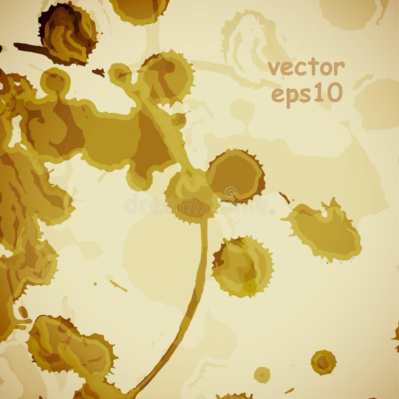 Taches de café sur le fond blanc illustration de vecteur