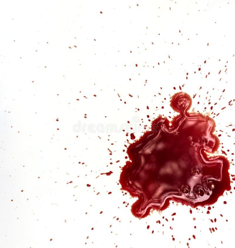 Taches de sang sur le blanc photos stock
