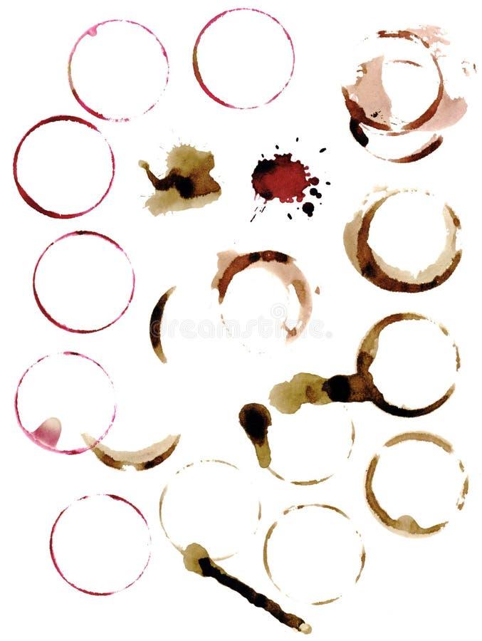 Taches des cercles du vin et du café impression Type de cru illustration stock