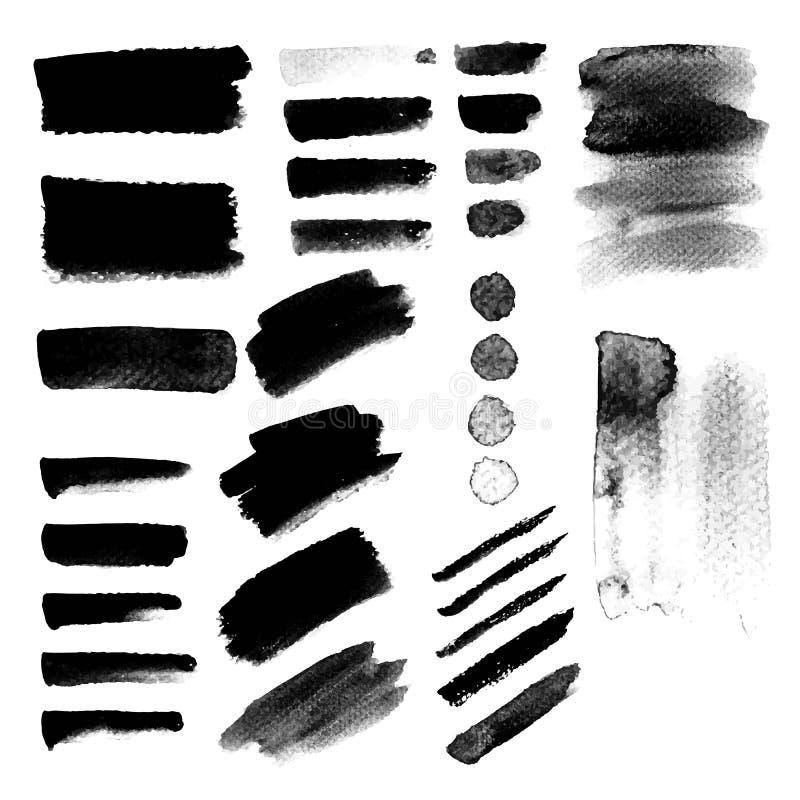 Taches grunges de peinture d'aquarelle Courses peintes à la main noires de brosse illustration stock