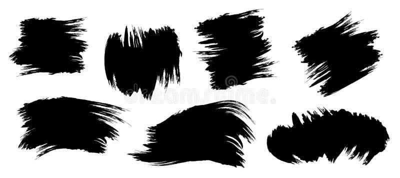 Taches noires de pinceau Taches grunges de forme abstraite réglées illustration de vecteur