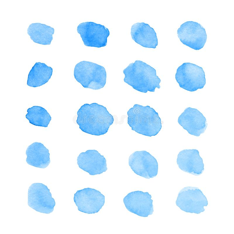 Taches peintes à la main et taches bleues d'aquarelle d'isolement sur le whi illustration stock