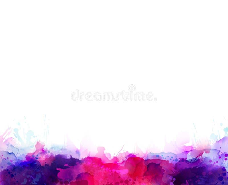 Taches pourpres, violettes, lilas et roses d'aquarelle Élément de couleur lumineux pour le fond artistique abstrait illustration stock