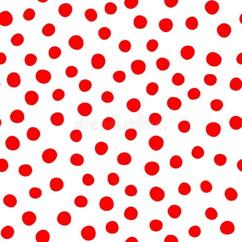 Taches rouges arrondies Sur le fond blanc Configuration sans joint abstraite illustration libre de droits