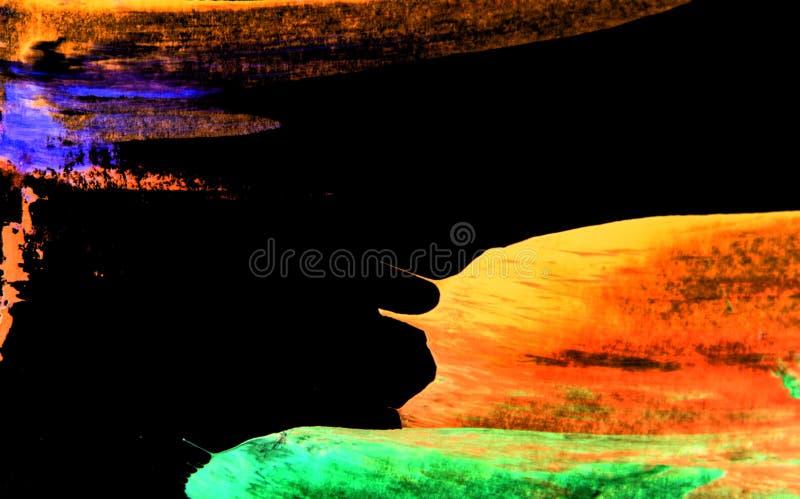 taches vert-bleu violettes oranges de pinceau sur le fond noir photo stock