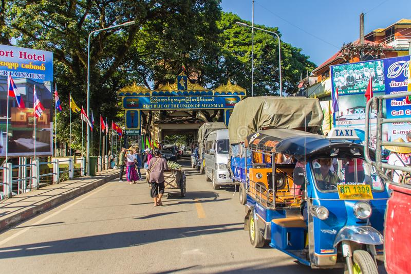 Tourists visited Tachileik border market from Mae Sai, Thailand. Tachilek or Tha Khi Lek is a border town in the Shan State of eas stock photography