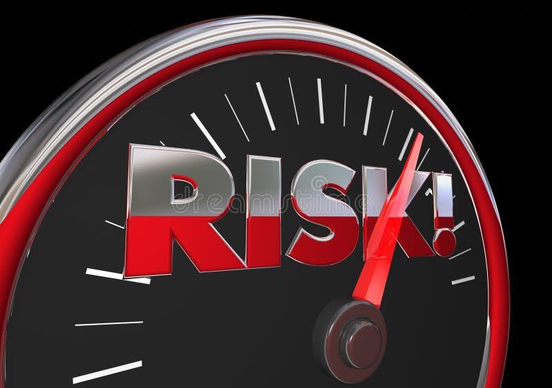 Tachimetro d'avvertimento del pericolo in aumento del livello di rischio royalty illustrazione gratis