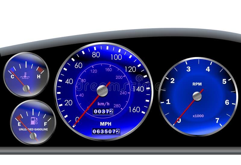 Tachimetro del cruscotto dell'automobile per il motore o sportscar illustrazione vettoriale