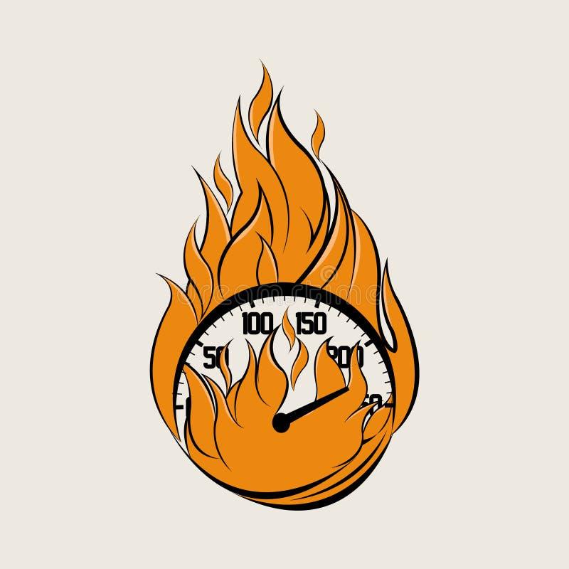 Tachimetro su fuoco Logo Vector fotografie stock