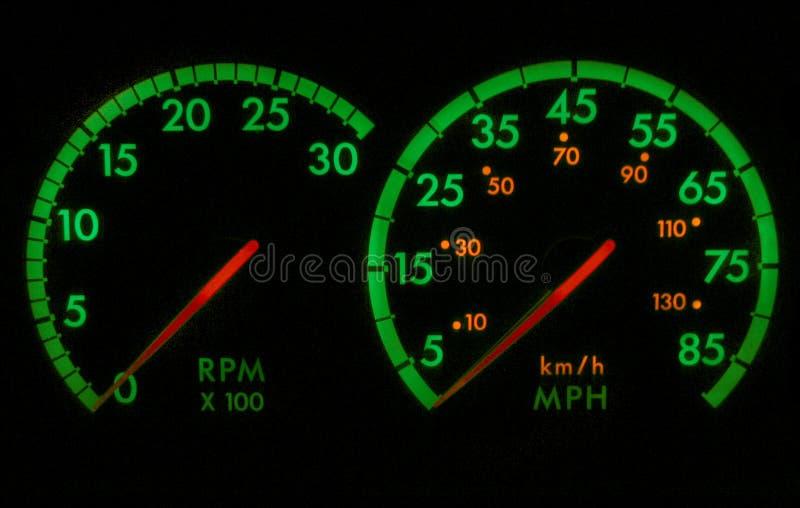Tachimetro verde e rosso RPM fotografie stock