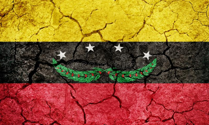 Tachira State flag. State of Venezuela, on dry earth ground texture background royalty free stock photo