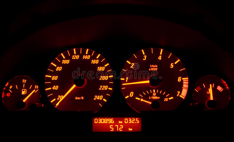 Tachometer of a car stock photography