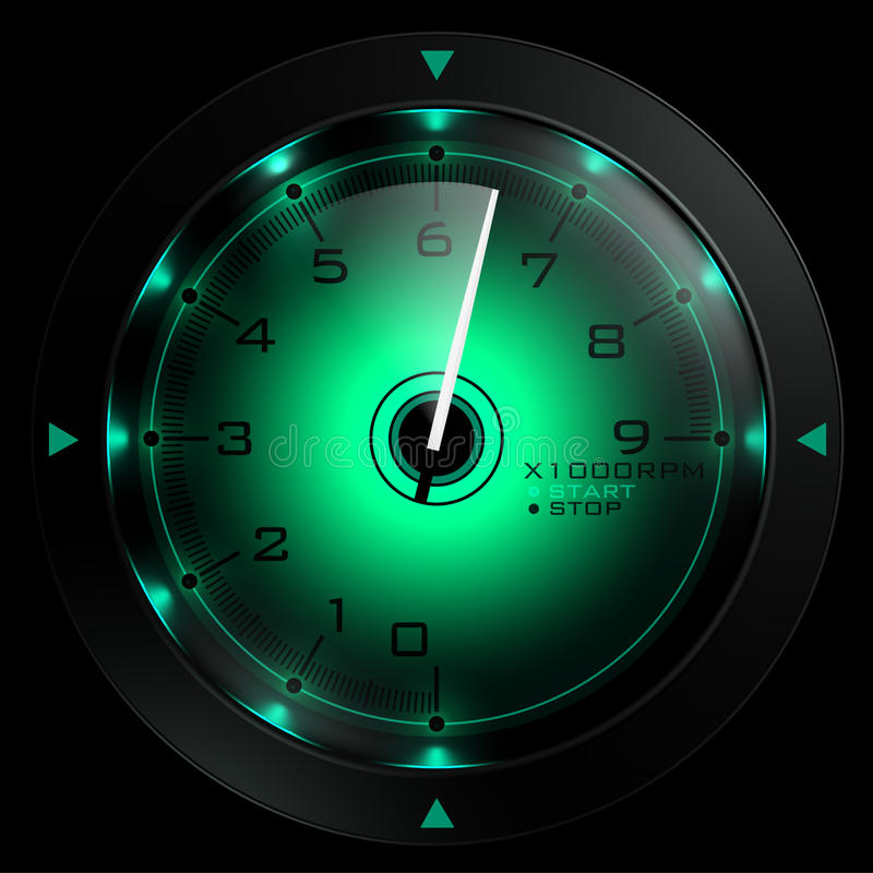 Free Tachometer Green Isolated On Black Stock Photo - 17212740
