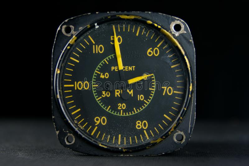 Tachometer old analog instrument vintage dial hands stock photography