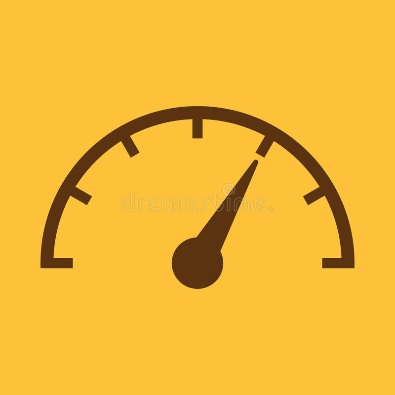 The tachometer, speedometer and indicator icon. Performance measurement symbol. Flat royalty free illustration