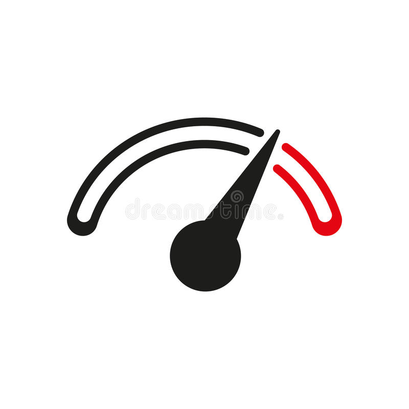 The tachometer, speedometer and indicator icon stock illustration