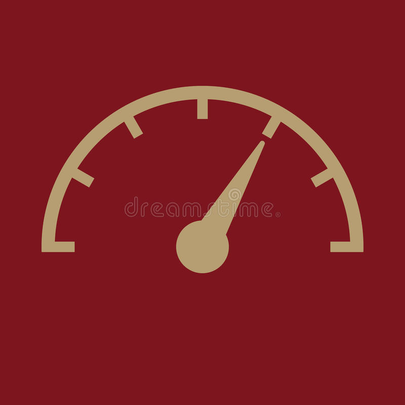 The tachometer, speedometer and indicator icon. Performance measurement symbol. Flat stock illustration