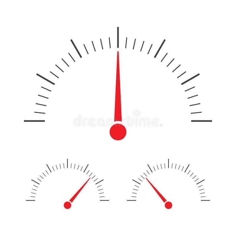 Tachometru, szybkościomierza i wskaźnika ikona, ilustracja wektor