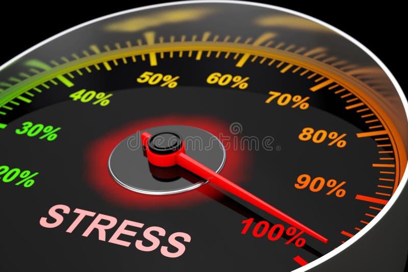 Tachymètre comme mètre de niveau de stress rendu 3d illustration libre de droits