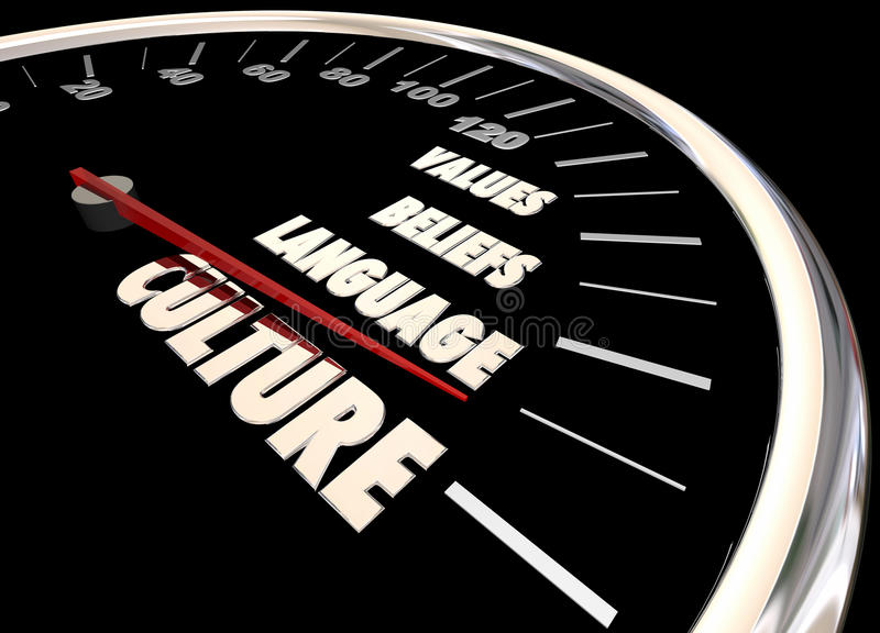 Tachymètre de diversité de valeurs de croyances de langue de culture illustration de vecteur