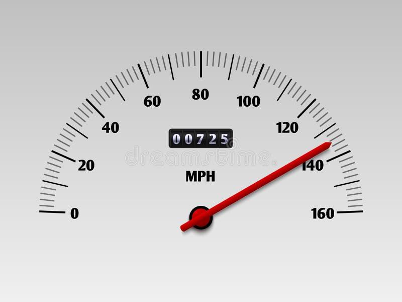Tachymètre de voiture avec l'échelle de niveau de vitesse ou illustration de vecteur de tachymètre d'isolement sur le fond blanc illustration de vecteur