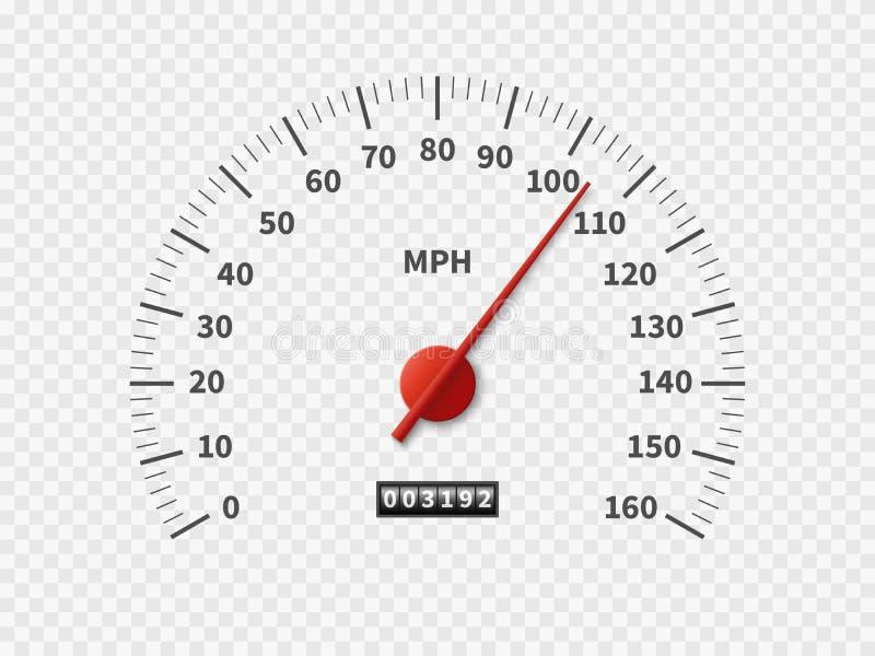 Tachymètre réaliste Concept blanc de mètre de moteur d'échelle de mesure de milles de moteur du mètre T/MN de cadran de vitesse d illustration de vecteur