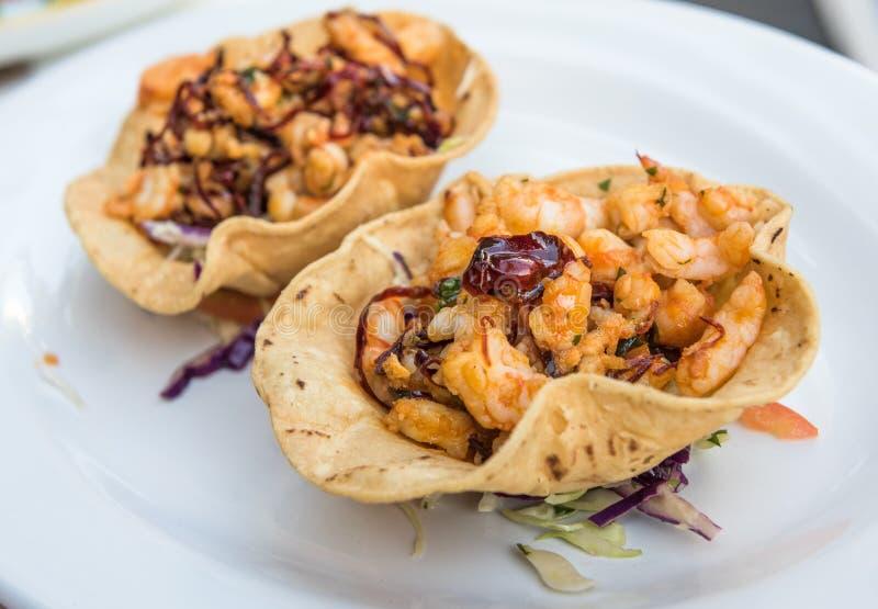 Taci del gamberetto, cucina messicana autentica immagini stock