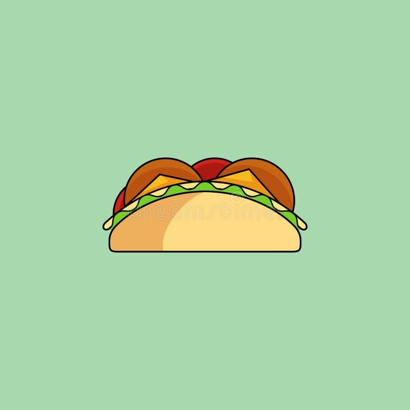 Taci e linea icona del burrito royalty illustrazione gratis