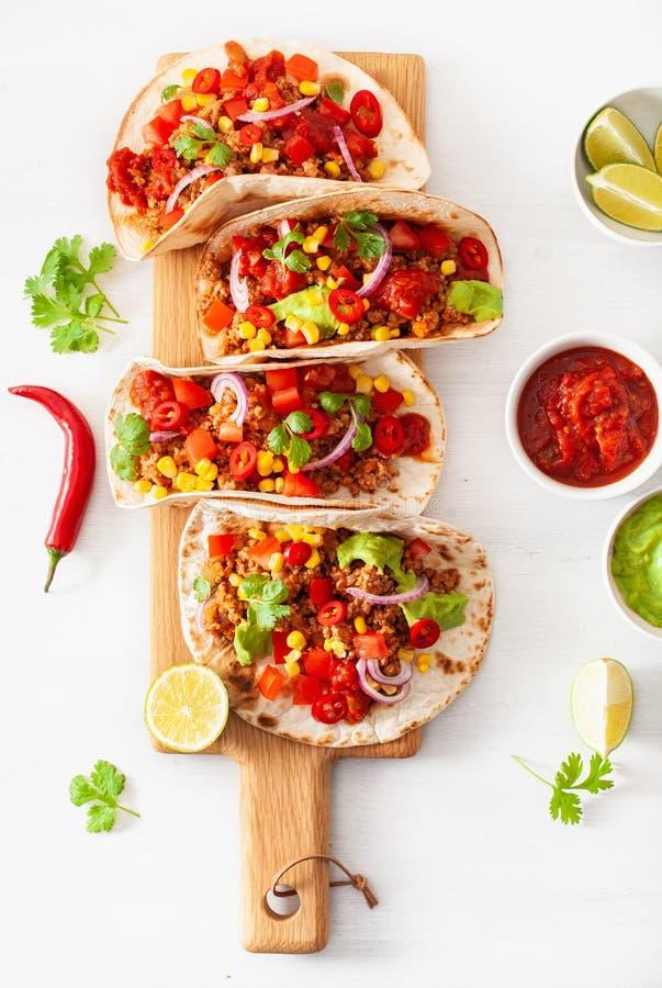 Taci messicani del maiale e del manzo con salsa, guacamole e le verdure fotografie stock