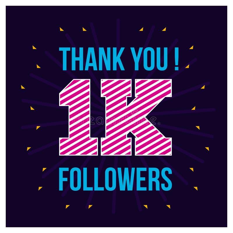Tack för de 1000 anhängarna Tacka dig lyckönskankortet för anhängaren 1K på krabb bakgrund ocks? vektor f?r coreldrawillustration royaltyfri illustrationer