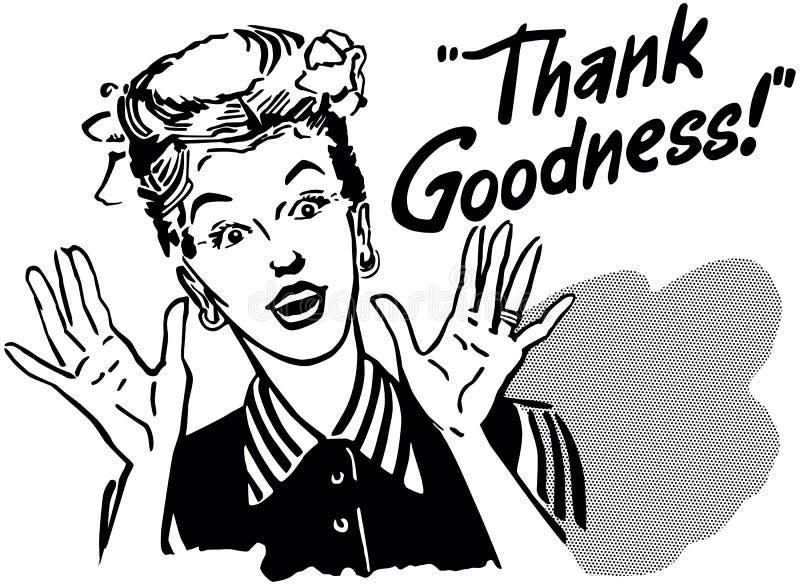 Tack Goodness Retro Gal royaltyfri illustrationer