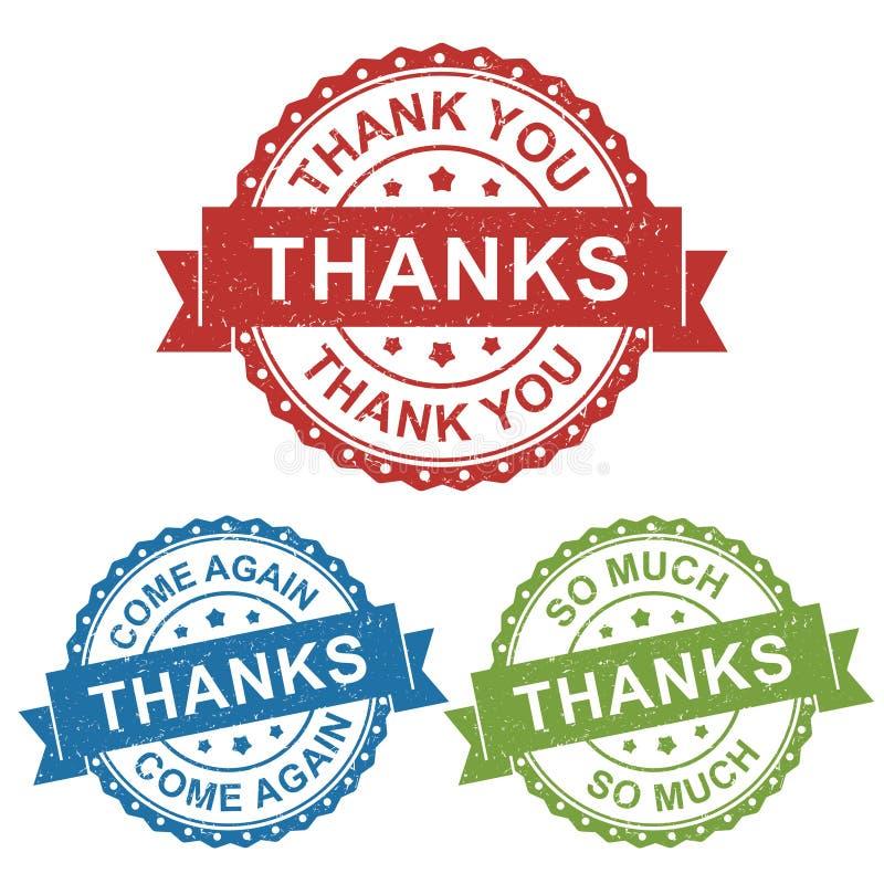Tack, tacka dig, kommet igen, etiketten för stämpeln för vektoremblemetiketten för produkt och att marknadsföra att sälja direkta vektor illustrationer