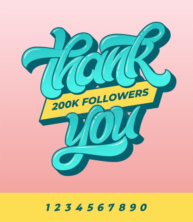Tacka dig anhängare 200K Vektorbaner för socialt massmedia med borstekalligrafi på rosa isolerad bakgrund vektor royaltyfri illustrationer