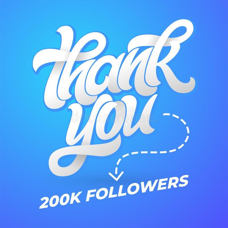 Tacka dig anhängare Vektormallen för socialt massmedia med borstekalligrafi på blått isolerade bakgrund vektor vektor illustrationer