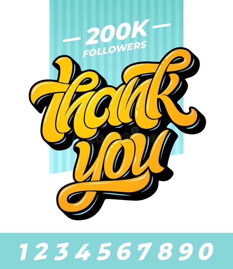 Tacka dig anhängarebanret Redigerbar vektormall för socialt massmedia med borstebokstäver och alla nummer på isolerat royaltyfri illustrationer
