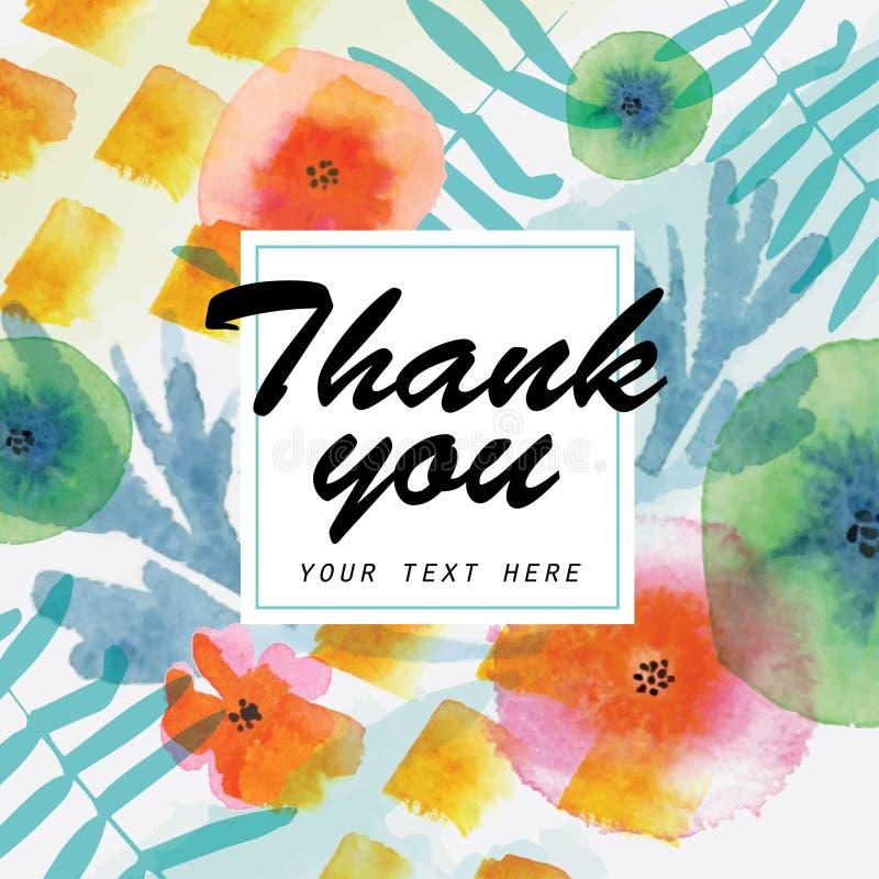 Tacka dig att card dekorerat med blom- beståndsdelar för vattenfärgen vektor illustrationer