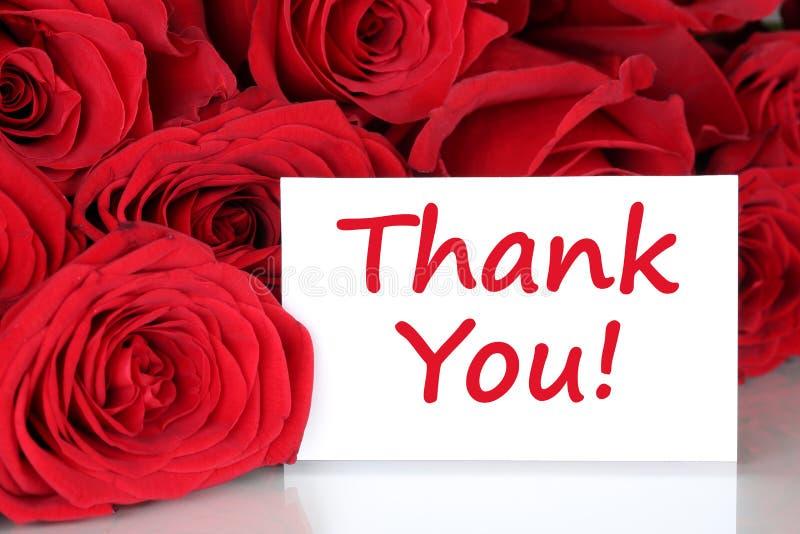 Tacka dig att card med blommor för röda rosor royaltyfria foton