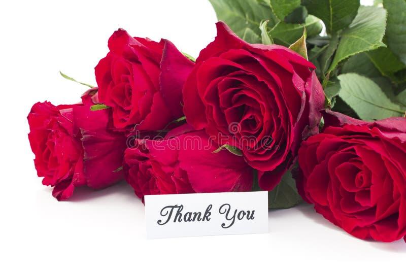 Tacka dig att card med buketten av röda rosor royaltyfria foton