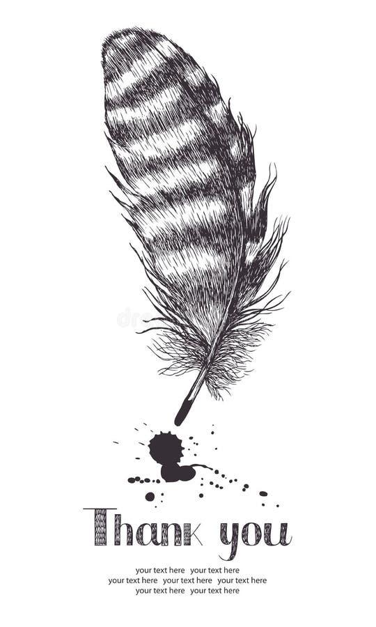 Tacka dig att card med fjädern royaltyfri illustrationer