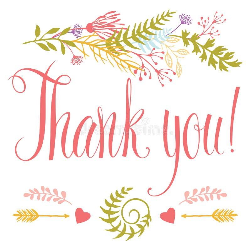 Tacka dig att card med hjärta, skogörter, pilar stock illustrationer