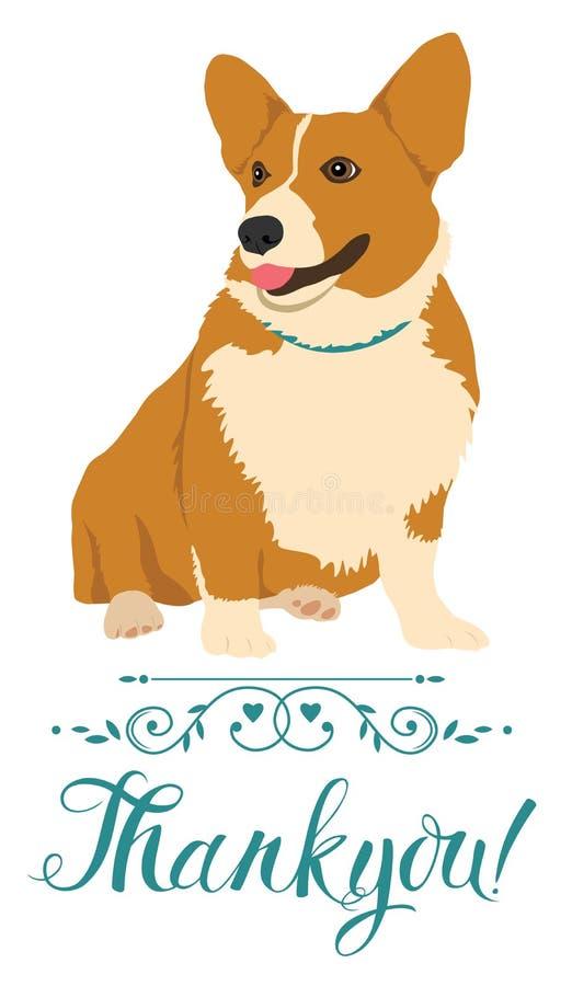 Tacka dig att card med hunden stock illustrationer