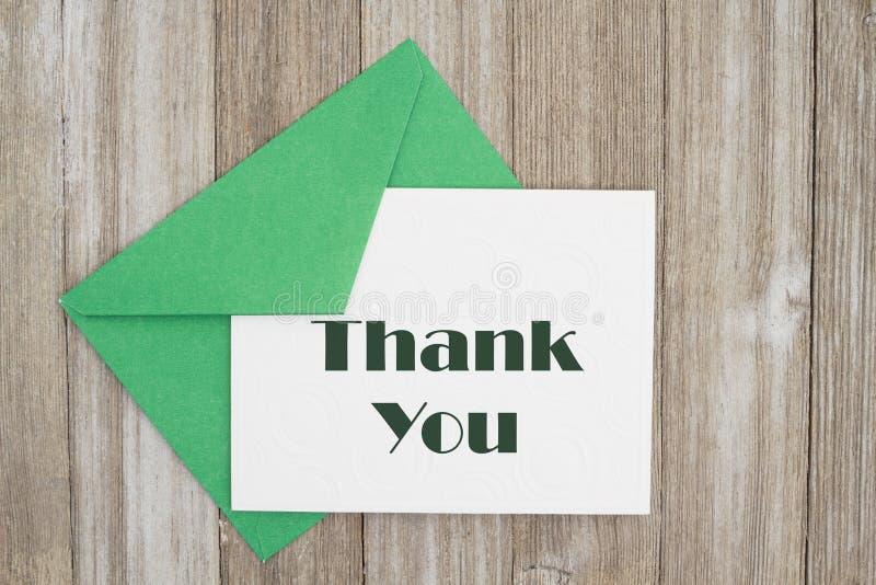 Tacka dig att card meddelandet med envolope fotografering för bildbyråer